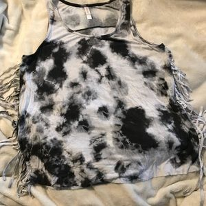 Tie dyed tank with fringe sides